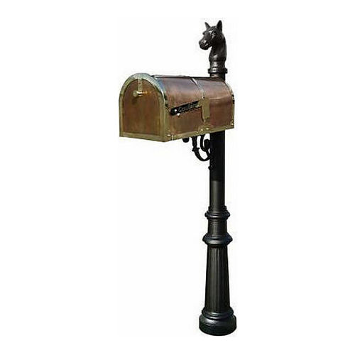 QualArc MB-3000-POL-LP801-BL Mailbox with Lewiston Post, Fluted/Horsehead, Black & Polished Brass