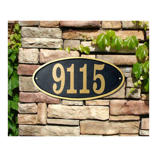 QualArc CLAR-OVL-BZ Claremont Oval Cast Aluminum Bronze with Gold Border Address Plaque