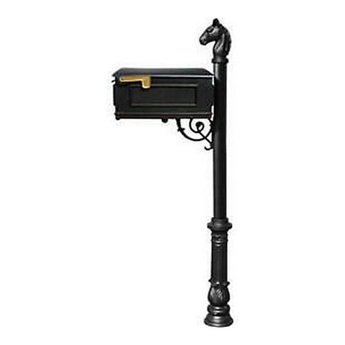 QualArc LM-701-LPST-BL Lewiston Mailbox, Post (with Ornate Base & Horsehead Finial), Black