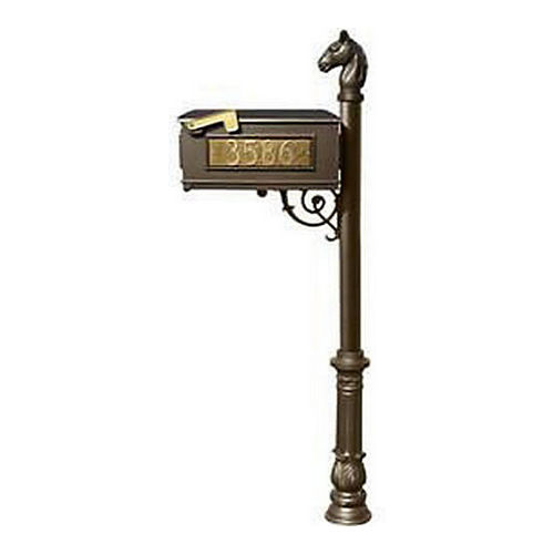 QualArc LMC-701-BZ Lewiston Mailbox, Post (with Ornate Base & Horsehead Finial), Bronze