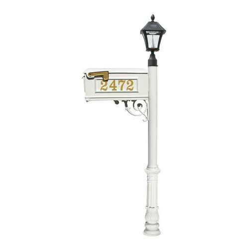 QualArc LMCV-700-SL-WHT Ornate Mailbox with Post & with Vinyl Number On Mailbox, White