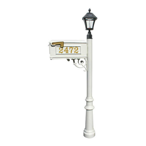 QualArc LMCV-800-SL-WHT Fluted Mailbox with Post & with Vinyl Number On Mailbox, White