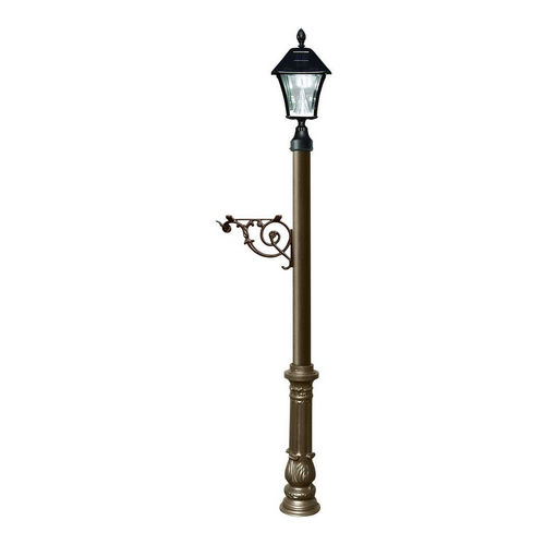 QualArc LPST-700-SL-BZ Lewiston Post Only with Support Brace, Bronze with Black Bayview Solar Lamp.