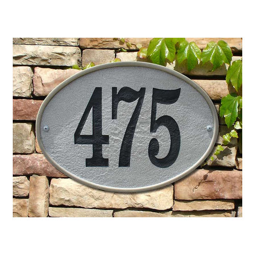 QualArc OAK-4605-SL Oakfield Oval Crushed Stone Address Plaque, Slate