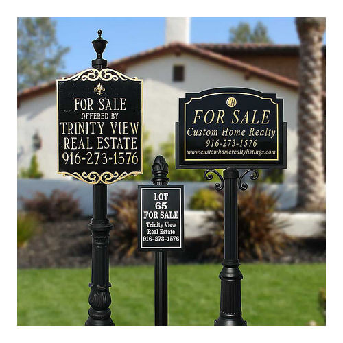 QualArc RCVRE-70U-BL Richvale Sign System with Ornate Base 7 & U Sign Frame, Black