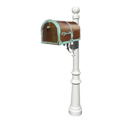 QualArc MB-3000-PAT-LP804-WHT Mailbox with Lewiston Post, Fluted/Ball White & Antique Brass Patina