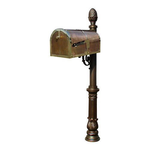 QualArc MB-3000-POL-LP703-BZ Mailbox with Lewiston Post, Ornate/Pineapple, Bronze & Polished Brass