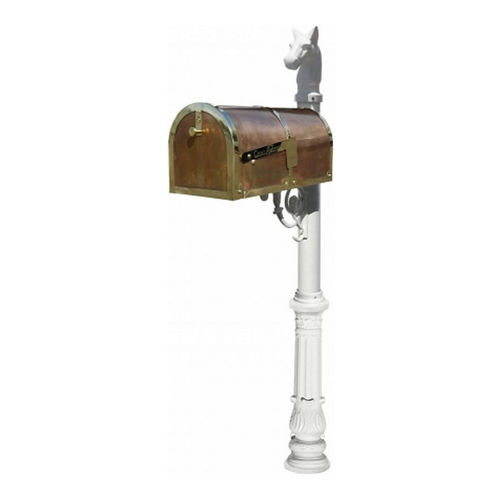 QualArc MB-3000-POL-LP701-WHT Mailbox with Lewiston Post, Ornate/Horsehead, White & Polished Brass