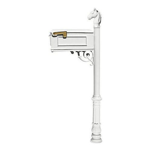 QualArc LM-701-LPST-WHT Lewiston Mailbox, Post (with Ornate Base & Horsehead Finial), White