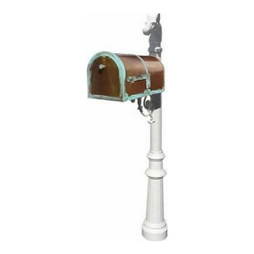 QualArc MB-3000-PAT-LP801-WHT Mailbox with Lewiston Post, Fluted/Horsehead White & Antique Brass Patina