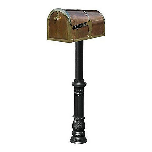 QualArc MB-3000-POL-HP700-BL Mailbox with Hanford #7 Ornate Base Post, Black & Polished Brass