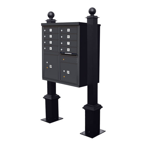 QualArc WDPST-S4-CBU-BLK Westhaven Decorative CBU Square Posts with Square Base & Large Ball Finial, Black