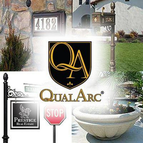 QualArc WESRE-SB1S5-WHT Westhaven Sign System with Square Base & Urn Finial, White