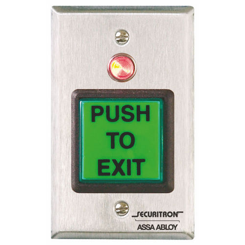 Securitron PB2 Push Button Momentary, Single Gang, Illuminated, Green/Red/Handicap