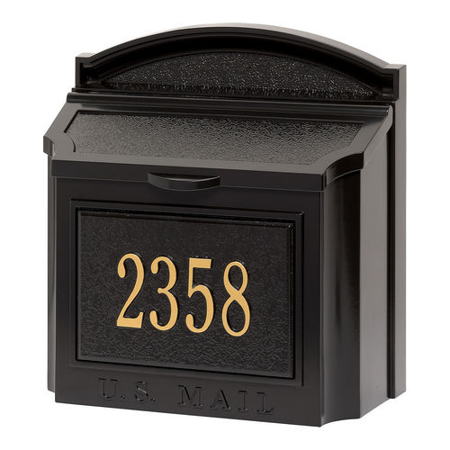 Whitehall 16103 Wall Mailbox Package, Black/Gold