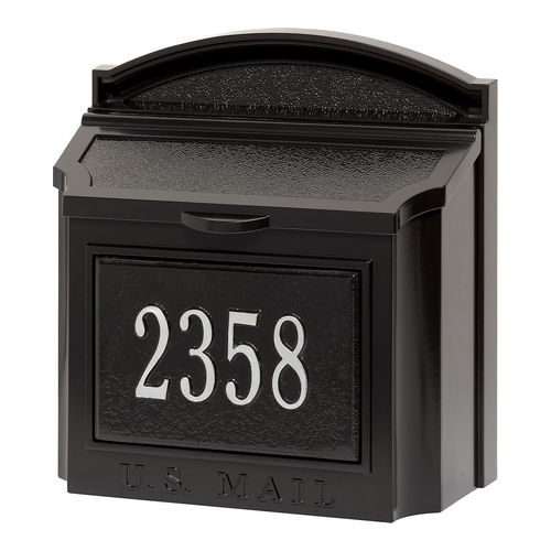 Whitehall 16284 Wall Mailbox Package, Black/Silver