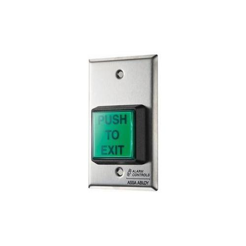 Alarm Controls TS-2 2in Sq Grn Illuminated Pushbutton Spdt