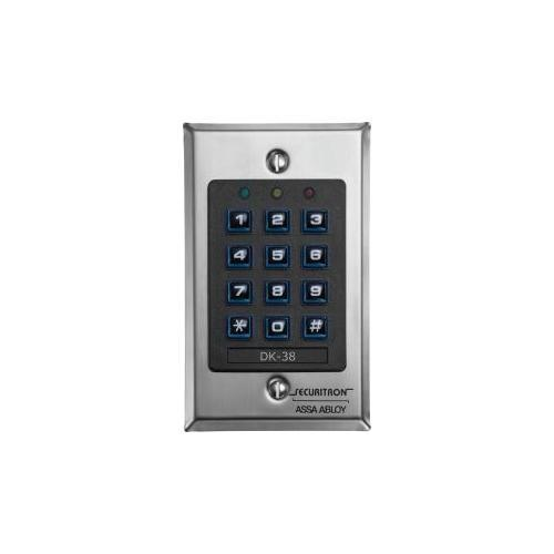 Securitron DK-38 Keypad Wiegand, Single Gang, Satin Stain
