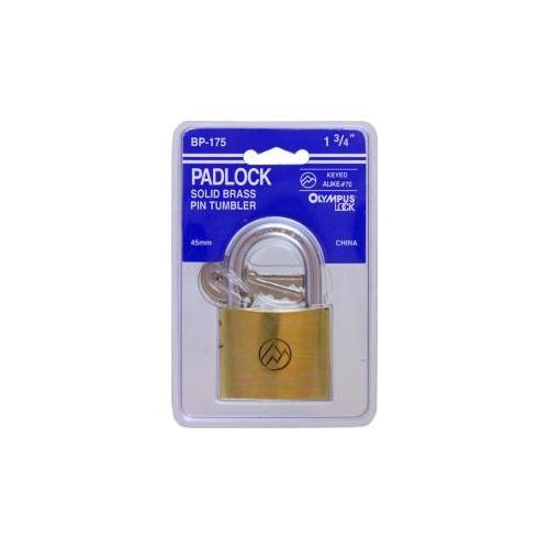 Olympus Lock BP175KA70 Padlock Brass 3 Keys