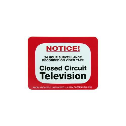 Maxwell Alarm Screen DTV-202 Decal 4x3in Warning Cctv