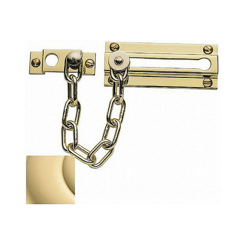 Baldwin 0260031 Chain Door Fastener Unlacquered Brass Finish
