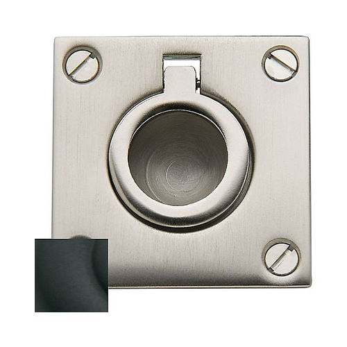 Baldwin 0393190 Flush Ring Pull Satin Black Finish