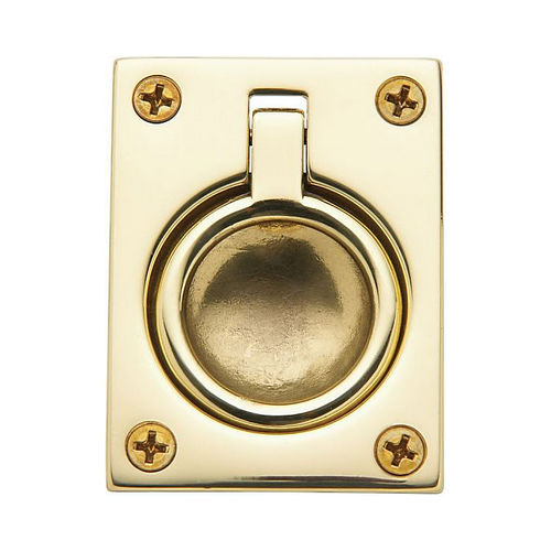 Baldwin 0394030 Flush Ring Pull Bright Brass Finish