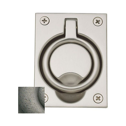 Baldwin 0395452 Flush Ring Pull Distressed Antique Nickel Finish