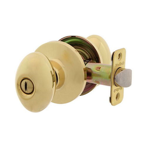 MaxGrade 200BAK3 Baker Egg Style Privacy Turn Button Lock Bright Brass Finish with Adjustable Latch and Radius Strike