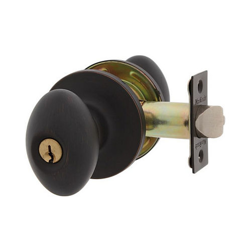MaxGrade 300BAK11H Baker Egg Style Entry Lock Aged Bronze Finish with Adjustable Latch and Radius Strike
