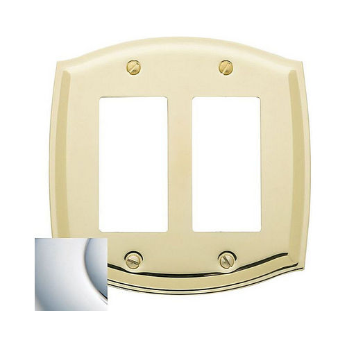 Baldwin 4787260 Double Rocker Colonial Switch Plate Bright Chrome Finish