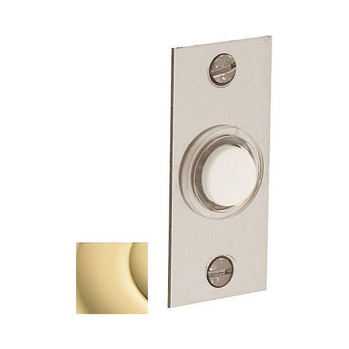 Baldwin 4853031 Rectangular Bell Button Unlacquered Brass Finish