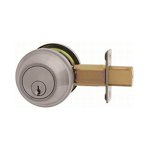 MaxGrade 60015KW Single Cylinder Deadbolt Satin Nickel Finish with Adjustable Latch and Square Strike