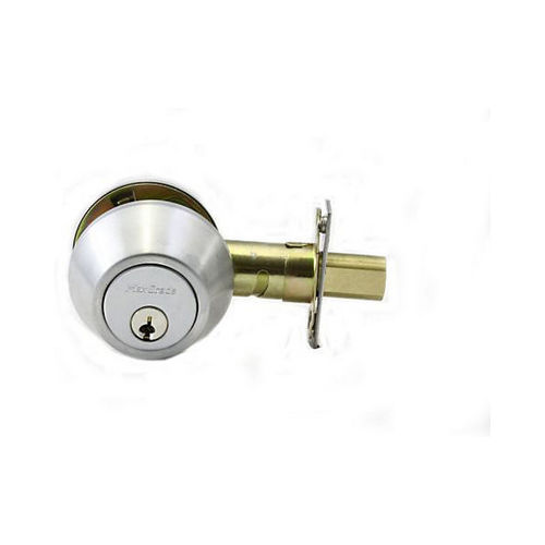 MaxGrade 60026D Single Cylinder Deadbolt Satin Chrome Finish with Adjustable Latch and Square Strike