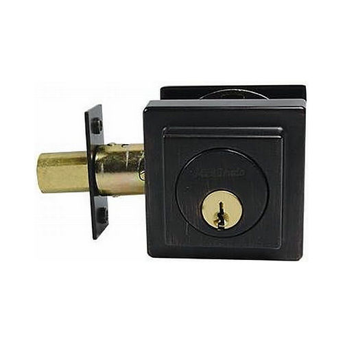 MaxGrade 600SQ11HKW Square Single Cylinder Deadbolt Aged Bronze Finish with Adjustable Latch and Square Strike