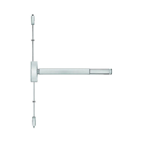 PHI 22036303 3' Apex Surface Vertical Rod Wide Style Night Latch Exit Device Satin Stainless Steel Finish