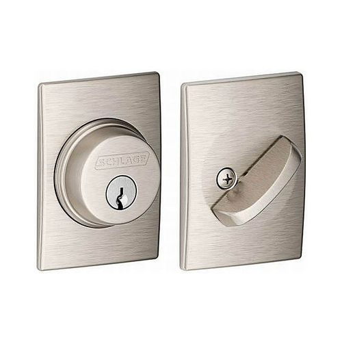 Schlage Residential B60CEN619 Century Single Cylinder Deadbolt C Keyway with 12287 Latch and 10116 Strike Satin Nickel Finish