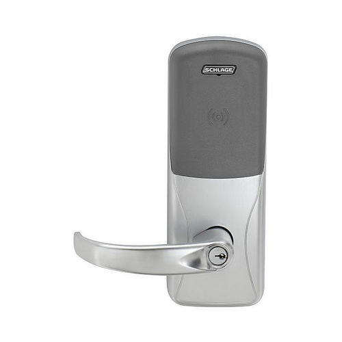 Schlage Electronic CO200993R70PRSPA626 Standalone Electronic Lock with Rights on Lock Rim Exit Trim Classroom / Storeroom Proximity Sparta Lever Satin Chrome Finish