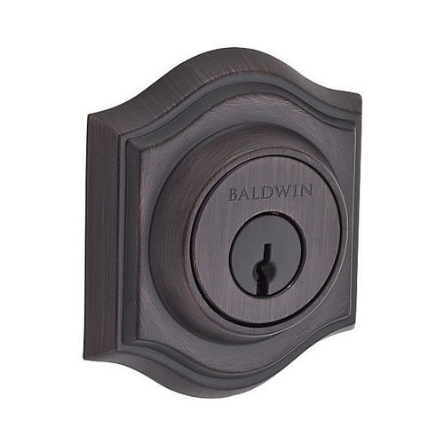 Baldwin DCTAD112 Double Cylinder Traditional Arch Deadbolt with 6AL Latch and Dual Strike Venetian Bronze Finish
