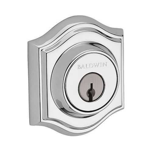 Baldwin DCTAD260 Double Cylinder Traditional Arch Deadbolt with 6AL Latch and Dual Strike Bright Chrome Finish