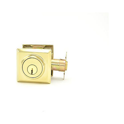 Baldwin DCTSD003 Double Cylinder Traditional Square Deadbolt with 6AL Latch and Dual Strike Lifetime Brass Finish