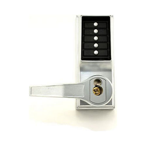 Simplex LR8148S26D Left Hand Reverse Mechanical Pushbutton Lever Mortise Combination Entry Passage Lockout with Deadbolt and Key Override, Schlage Prep Satin Chrome Finish