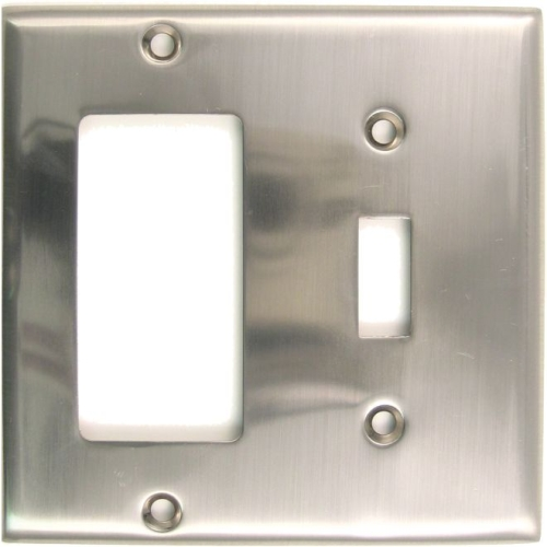 Rusticware 788SN Double Rocker and Toggle Switch Plate Satin Nickel Finish