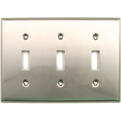 Rusticware 789SN Triple Toggle Switch Plate Satin Nickel Finish