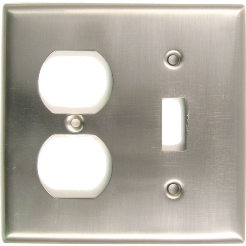 Rusticware 791SN Double Toggle and Outlet Switch Plate Satin Nickel Finish