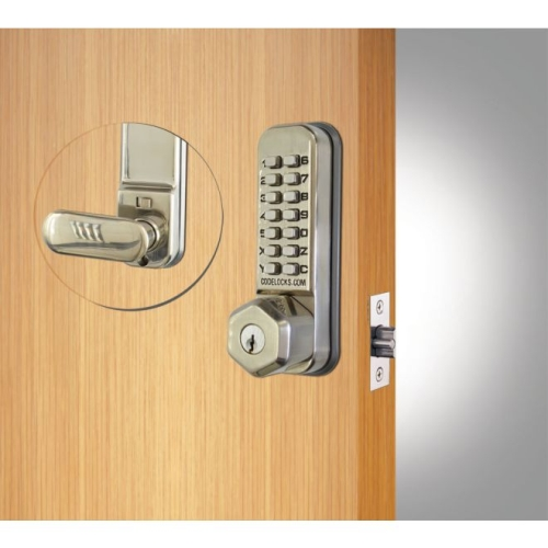 Codelock CL250KSS Tubular Keypad Latch Lock with Key Override with Hexagonal Knob Exterior and Lever Interior Stainless Steel Finish