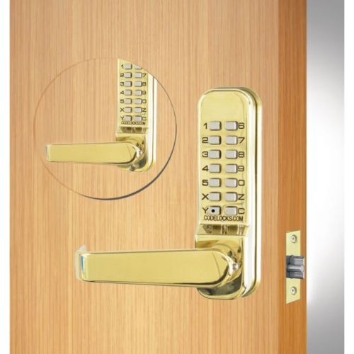 Codelock CL415BBPB Back to Back Tubular Keypad Lever Latchbolt Lock with Code Free Option Polished Brass Finish