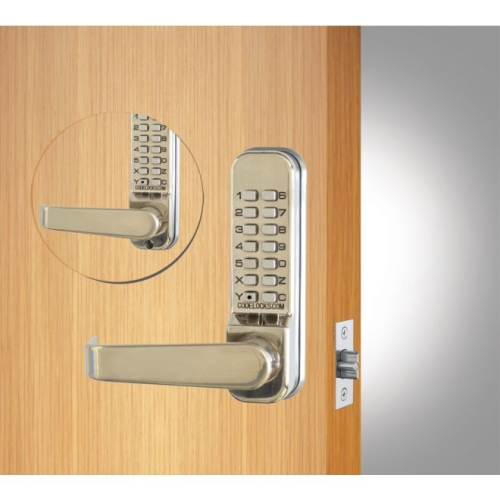 Codelock CL415BBSS Back to Back Tubular Keypad Lever Latchbolt Lock with Code Free Option Stainless Steel Finish