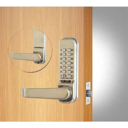 Codelock CL415SS Tubular Keypad Lever Latchbolt Lock with Codefree Option Stainless Steel Finish