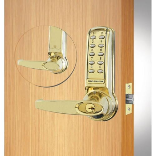 Codelock CL4210PB Electronic Tubular Keypad Lever Latchbolt Lock Polished Brass Finish